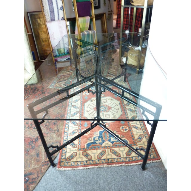 Image of Black Lacquer Faux Bamboo Regency Dining Table