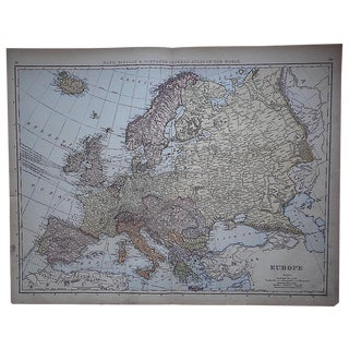 "Antique Map of Europe-27.5""x21.25"""