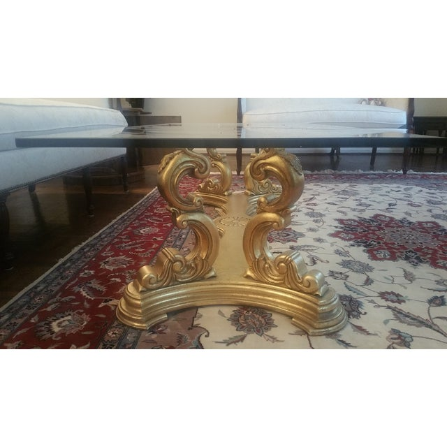 Italian Hand-Carved Base & Glass Top Coffee Table - Image 4 of 5