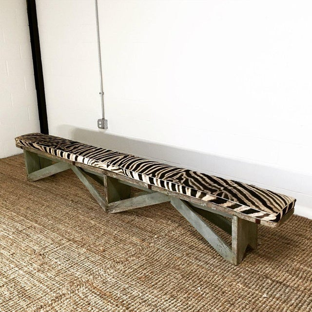 Extra Long Farmhouse Bench Custom Zebra Hide Cushion Chairish