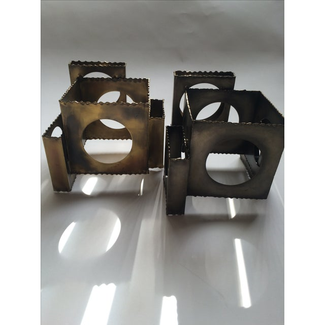 Tom Greene Brass Sculpture Candleholders - A Pair - Image 3 of 6