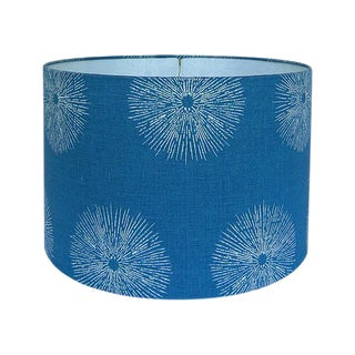 Medium Sea Urchin Blue Linen Custom Drum Lamp Shade