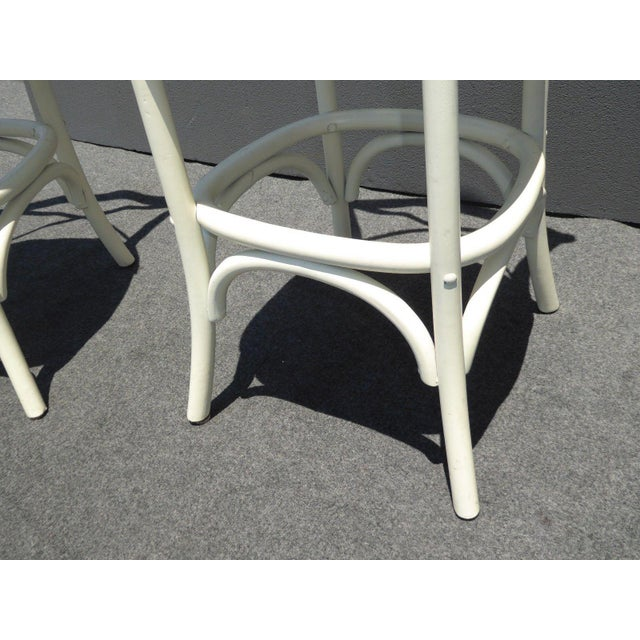 Image of Vintage French Country White Rye Seat Bar Stools - A Pair