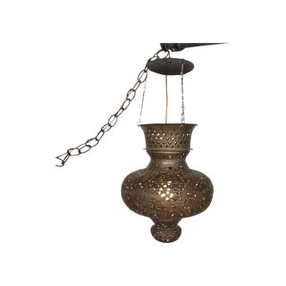 Pierced Bronze Moroccan Pendant Lamp