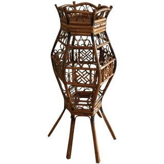 Large Bamboo Planter with Fish Scale Pattern