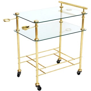 Hollywood Regency Brass & Glass Service Bar Cart