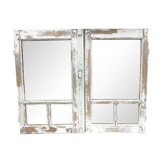 Antique Salvaged French Window Wall Mirror