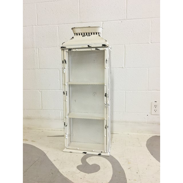 Shabby Chic White Metal Cabinet - Image 4 of 6