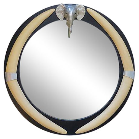 """Round Mirror With Elephant and """"Tusks"""" - Image 1 of 5"""