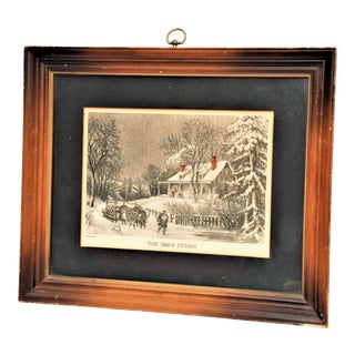 """Antique Framed Currier and Ives Print """"The Snow Storm"""""""