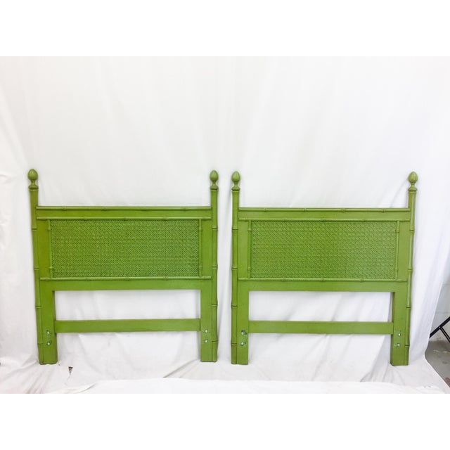 Vintage Green Faux Bamboo Twin Beds - a Pair - Image 2 of 9