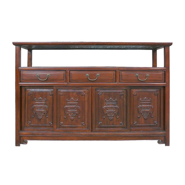 Image of Chinese Glass Top High Credenza