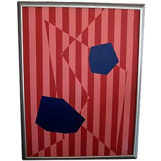 Framed Large Geometric Oil Painting
