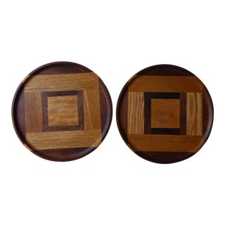 Hand Designed Inlaid Wood Trays - A Pair