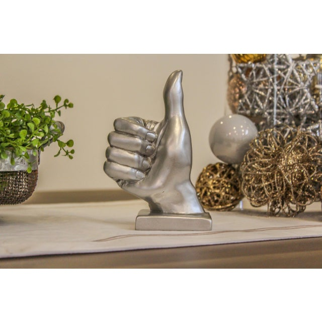Silver Thumbs Up Hand Symbol Sculpture - Image 6 of 7
