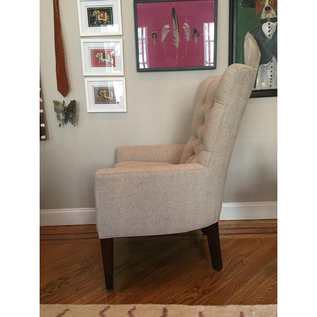 Custom Tufted Wingback Chair - a Pair - Image 4 of 11