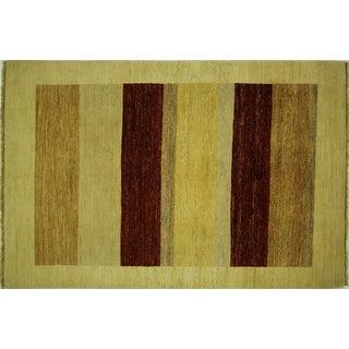 """Tan & Brown Striped Super Gabbeh Rug - 4'2"""" x 6'3"""""""