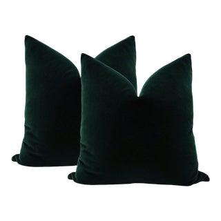 """22"""" Emerald Velvet Pillows - A Pair"""