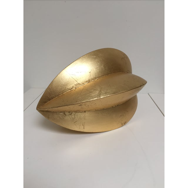 Image of Gold Leafed Carved Wooden Seed Shape Figurine
