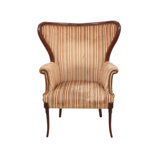 Neoclassical Style Striped Wingback Chair