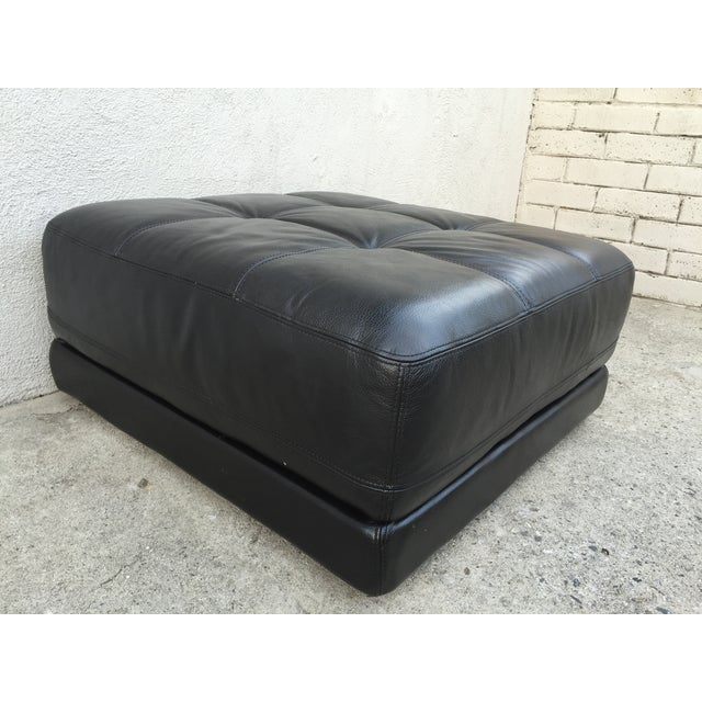 Mid-Century Black Leather Ottoman - Image 3 of 8