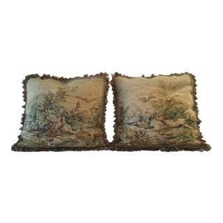 Animal Motif Needlepoint Pillows - A Pair
