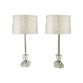 Cut Crystal Block Lamps - a Pair