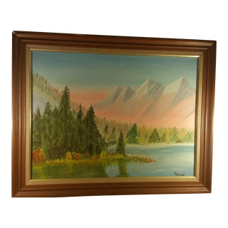 "Impressionist ""Mountains by Lake"" Oil Painting"