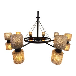 Round Metal Chandelier with Glass Shades