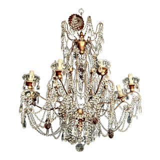 Classic Eight Light Italian Crystal Chandelier With Gilt Wood Bobeches