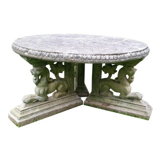 19th C. Style French Concrete Garden Lions Coffee Table Patio