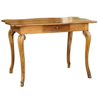 French 1850s Wooden Desk with Curvy Top, Single Drawer and Cabriole Legs