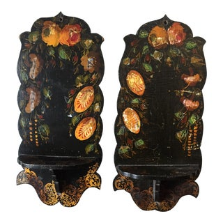 Pair Of Hand Painted Floral Sconces