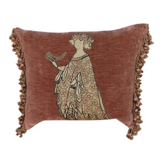 Pair of Figural Appliqued Vevlet Pillows