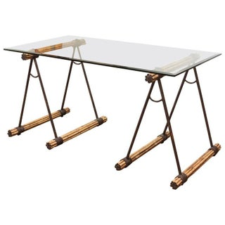 Glass Top Bamboo & Iron Saw Horse Desk