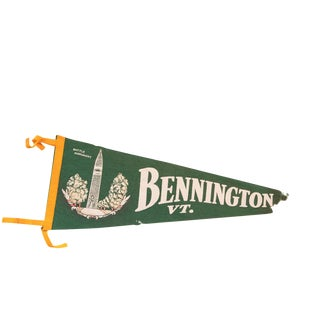 Large Green Bennington Vermont Felt Flag