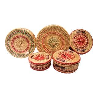 Vintage Sweet Grass Nesting Baskets- Set of 5