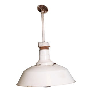 Vintage Industrial White Porcelain Ceiling Light with Bracket