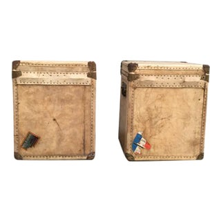 Vintage 1920s Leather Trunks - A Pair