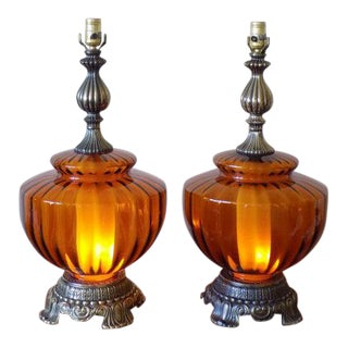 Mid-Century Hand Blown Amber Glass Table Lamps - A Pair