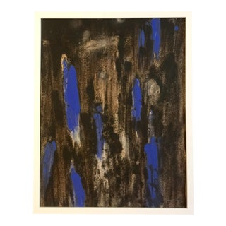 Circa 1970s Blue & Black Abstract Drawing