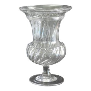 Early 19th Century 1820-1825 Bakewell & Page of Pittsburgh 16 Rib Flint Glass Footed Vase