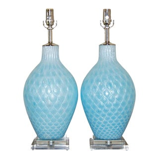Galliano Ferro Diamond Paned Murano Lamps