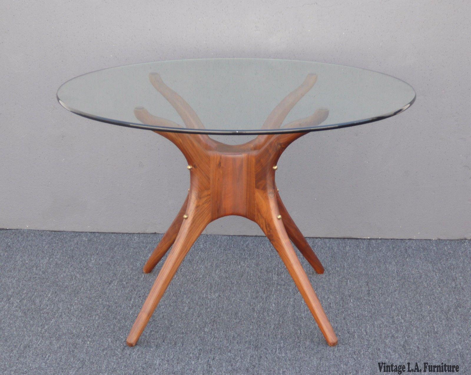 Danish Modern Organic Modernism Carved Walnut Pedestal Glass Top Dining  Table   Image 5 Of 11