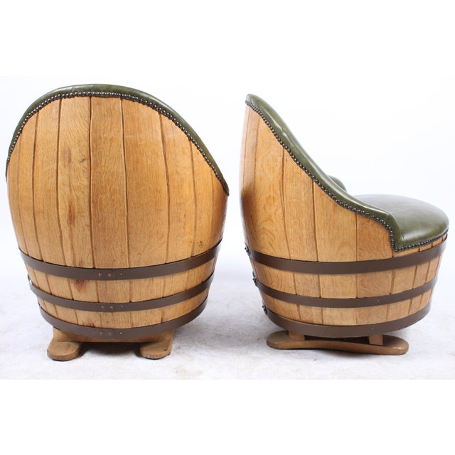 Oak Barrel Seating with Stools - Set of 4 - Image 6 of 7