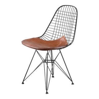 Eames early DKR wire chair with leather seat on Eiffel frame, USA, 1950s