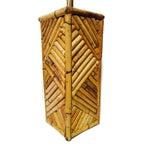 Image of Mid Century Bamboo Geometric Pedestal Lamp
