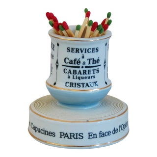 Parisian French Porcelain Match Striker & Holder