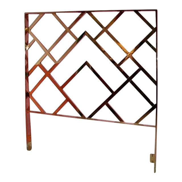 Vintage Milo Baughman Chinese Chippendale Brass King Headboard - Image 1 of 4