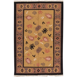 "Apadana Indian Dhurrie Rug - 5'1"" X 7'10"""